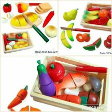 Fun Factory Wooden Cutting FOOD FRUIT BREAD Crate with Knife Pretend Kitchen Toy