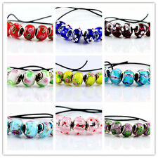 5pcs Silver Plated Murano Glass Bead Fit European Charm Bracelet