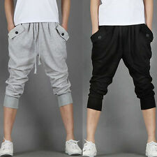 Mens Hip Hop Baggy Sweat Sports Harem Capri Shorts Cropped Trousers Casual Pants