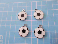 4 x Football Enamel Charms - Jewellery or Card Making