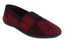 Soda Flat Women Shoes Red Plaid Black Linen Canvas Slip-on Loafers Comfy OBJECT