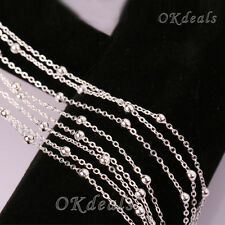 """HOT SALE 16-30"""" Silver Plated 3mm Beads Ball Simple Chain Necklace Jewelry Nice"""