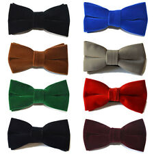 Men High Quality Velvet Pre-tied Bowties Adjustable Solid Color Wedding Bow Ties
