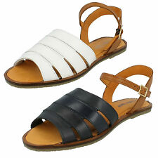 LADIES LEATHER COLLECTION FLAT PEEP TOE BUCKLE FASTEN LEATHER SUMMER SANDALS