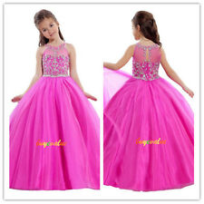 Age 2-8-14 girl's wedding dress Party flower girls formal dress princess Fushia
