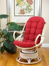 Java Handmade Design Rattan Wicker Swivel Rocking Chair Red Thick Cushion