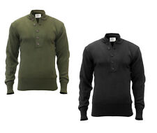 GI Style 5 Button Acrylic Vintage Classic Military Black Olive Drab Sweater