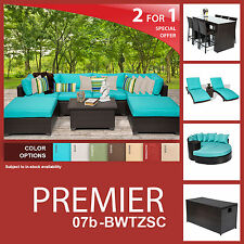 Premier 20 Piece Outdoor Wicker Patio Furniture Package PREMIER-07b-BWTZSC