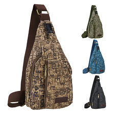 Men Fashion Vintage Canvas Leather Backpack Hiking Travel Military Messenger Bag