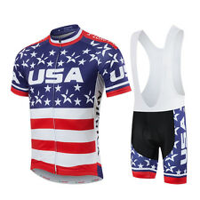 New USA short Sleeve Jersey Cycling Clothing Bicycle Bike shirt bib shorts set