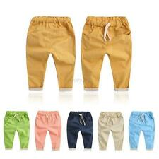 Toddler Baby Boys Girl Casual Solid Harem Pants Kids Cotton Sports Trousers 2-7Y