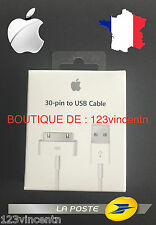 100% ORIGINAL APPLE CABLE USB origine IPHONE 3G 3Gs 4 4s IPAD 1 & 2 IPOD NANO 5G