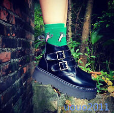 Punk New Womens Creeper Buckle Platform Shoes Ankle Boots Retro Girls Shoes Size