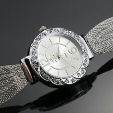 HOT Bangle Bracelet Stainless Steel Crystal Dial Analog Quartz Wrist Watch Women