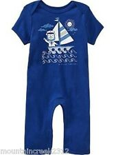 OLD NAVY Boys Romper Size 0 3 months SAILING LION One Piece Cotton Blue NEW