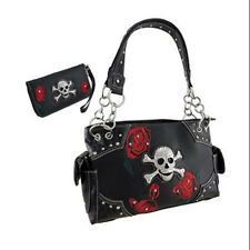 Embroidered Floral Skull Concealed Carry Women's Handbag with Matching Wallet