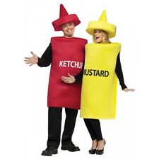 Ketchup and Mustard Costume Adult Funny Couples Halloween Fancy Dress