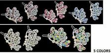 New Stunning New Butterfly Crystal Rhinestone Silver Tone Hair Clips 5 Colors
