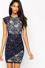 New Ladies Lipsy Scallop Lace Summer Bodycon Dress In Navy And White RRP £55
