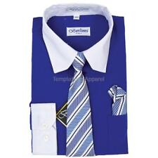 BERLIONI ITALY KIDS BOYS TODDLERS LONG SLEEVE DRESS SHIRT WITH TIE & HANKY BLUE