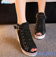 Fashion Womens Open Toe Lace Up Wedge Heel Platform Buckle Canvas Leisure Shoes