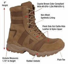 "Coyote Brown Tan AR 670-1 Forced Entry 8"" Military Airsoft Combat Tactical Boots"