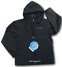 New Columbia boys Wind Winner hooded repellent rain jacket windbreaker Black