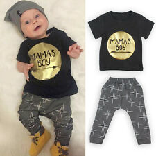 2pcs Newborn Infant Baby Boys Girl T-shirt Tops+Pants Toddler Outfit Clothes Set