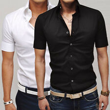 Fashion Mens Short Sleeve Muscle Dress Business Formal Shirts Casual Buttons Top