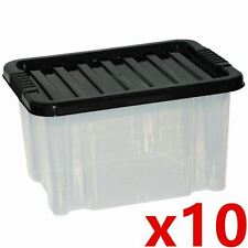 10 x 24 Litre Plastic Storage Clear Box Organiser Strong Stackable Container