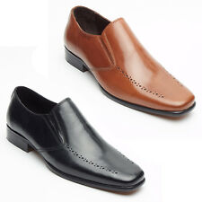 Mens Real Leather Smart Casual Slip On Black/Tan Italian Office/Wedding shoes