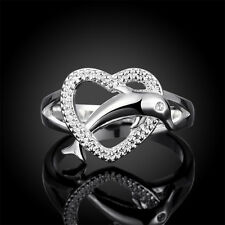 New 925 Sterling Silver Lovely Dolphin Through Heart Women Ring R708 Size 7 8