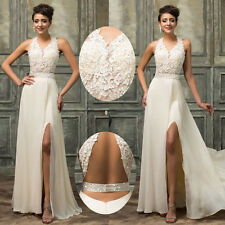 Women Lace Wedding Evening Gown Formal Bridesmaid Cocktail Party Prom Dress Ball