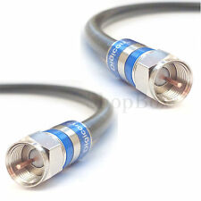 High Performance RG6 75-Ohm Coaxial 3 GHz TV Cable w/ Solid Copper Center - Long