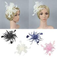 Vintage Colorful Hair Net Slide Feather Mesh Wedding Cocktail Party Headwear