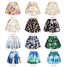 Plum blossoms Gym Badge Women Ladies Casual Cute Punk Skater Skirt
