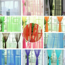 New Solid Sheer Curtain Window Curtains Metal Eyelet Voile Panel Valances  Scarf