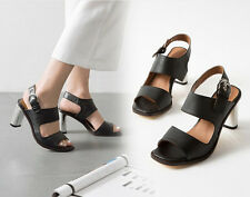 Chic Women Leather High Heels Buckle Peep Toes Chunky Heel Sandals Shoes New