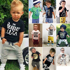 Newborn Baby Kids Boys Infant T-shirt Tops+Pants Outfit 2pcs Clothes Set 1-7Year
