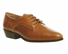 Womens Office Piccadilly Lace Up Flats TAN LEATHER Flats