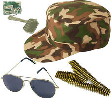 UNISEX ARMY CAP GOLD AVIATOR DOG TAG BULLET BELT CAMOUFLAGE LOT ACCESSORIES
