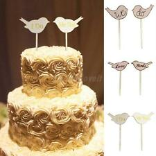 2pcs Romantic Love Birds Wooden Cake Topper Wedding Cake Photo Props
