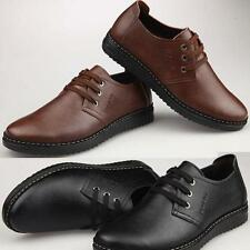 Mens Leather Shoes Lace Up  Casual Flats Dress Formal black brown plus size