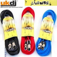 Pack Of 3 Livewire 10m Male to Female Balanced XLR Microphone Cables - Mic Lead
