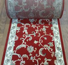 "Rug Depot Hall and Stair Runner Remnants - 32"" Wide - Red Rug Runner 100% Wool"