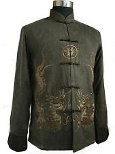 Traditional Chinese Men's Kung Fu Tai chi Coat jacket Tops SZ M L XL XXL 3XL