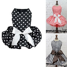 Hot Pet Dog Puppy Cats Princess Polka Dot Ribbon Dress Clothes Shirt Party Dress