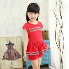 Baby Girls Kids Dress Tops Mini Dress+Short Pants Two Piece Set Clothes