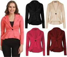 Womens Ladies Crop Frill Shift Slim Fit Fitted Peplum Blazer Jacket Coat Top