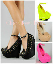 Women Hidden Wedge High Heel Spiked Mary Jane Goth Neon Color Ankle Strap Shoes